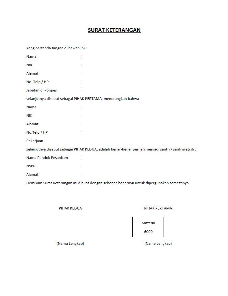Format Surat Keterangan Untuk Sosiopreneur